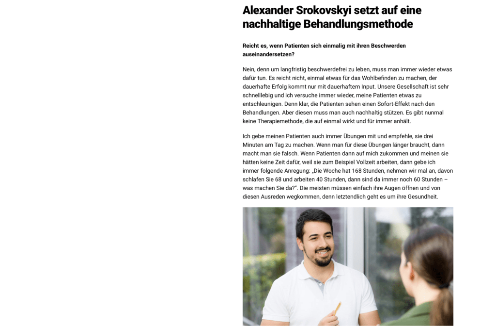 Artikel ProVita Physiotherapie Baden-Baden Experte Alexander Srokovskyi
