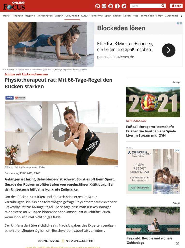Physiotherapie Alexander Srokovskyi Artikel Focus Online Rückenschmerzen vermeiden